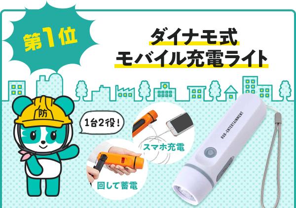 第1位:ダイナモ式モバイル充電ライト